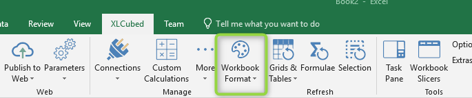 Workbook format in XLCubed ribbon