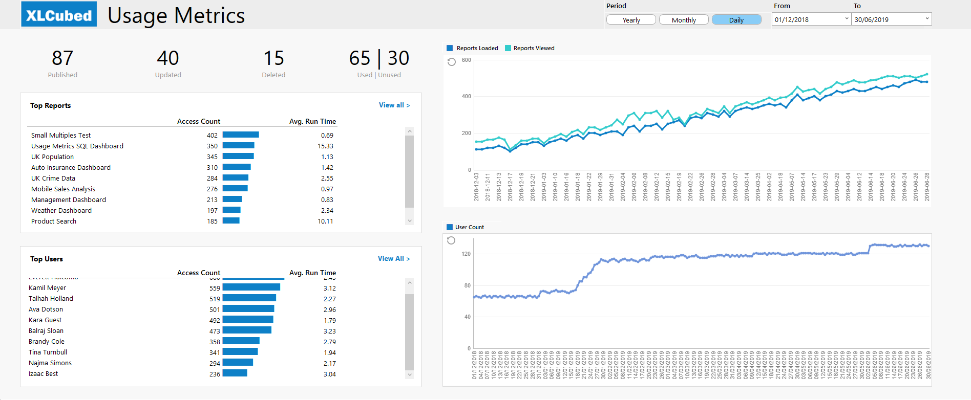 A View of Usage Metrics Report