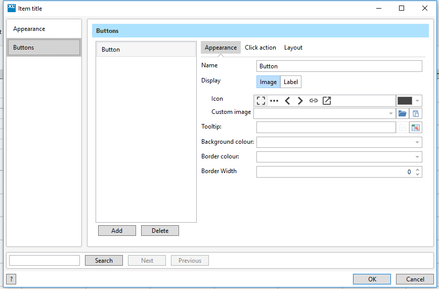 Dashboard title editor dialog showing button settings